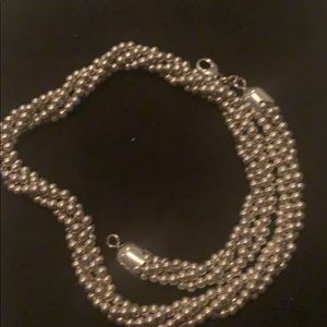 925 SS four strings beads necklace